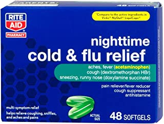 Rite Aid Multi-Symptom Nighttime Cold and Flu Relief, Softgels - 48 Count | Pain, Fever and Cough Relief