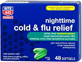 Rite Aid Multi-Symptom Nighttime Cold and Flu Relief, Softgels - 48 Count   Pain, Fever and Cough Relief