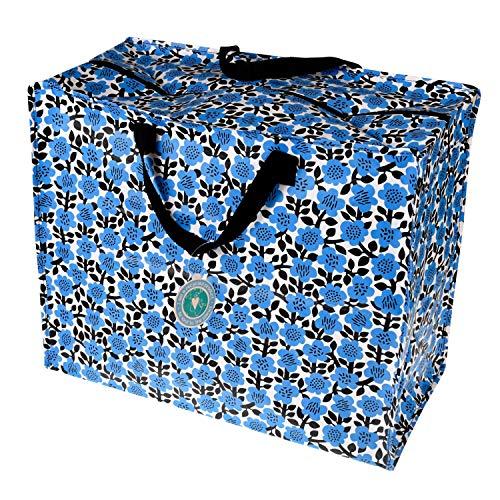 LS-Design XXL Jumbo Bag Blume Blau Schwarz Recycled Allzwecktasche Einkaufstasche