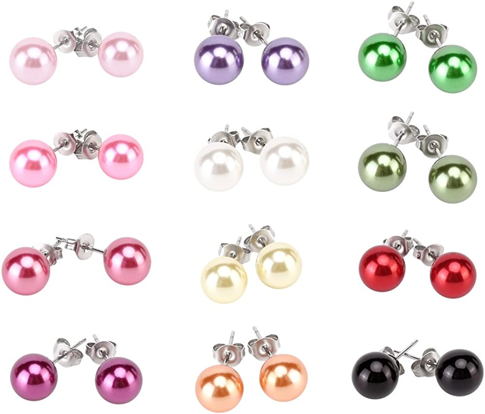 LEILE 12pairs colors Assorted Mixed Wholesale Max 44% OFF Boston Mall Glass Pearl Ea Lot
