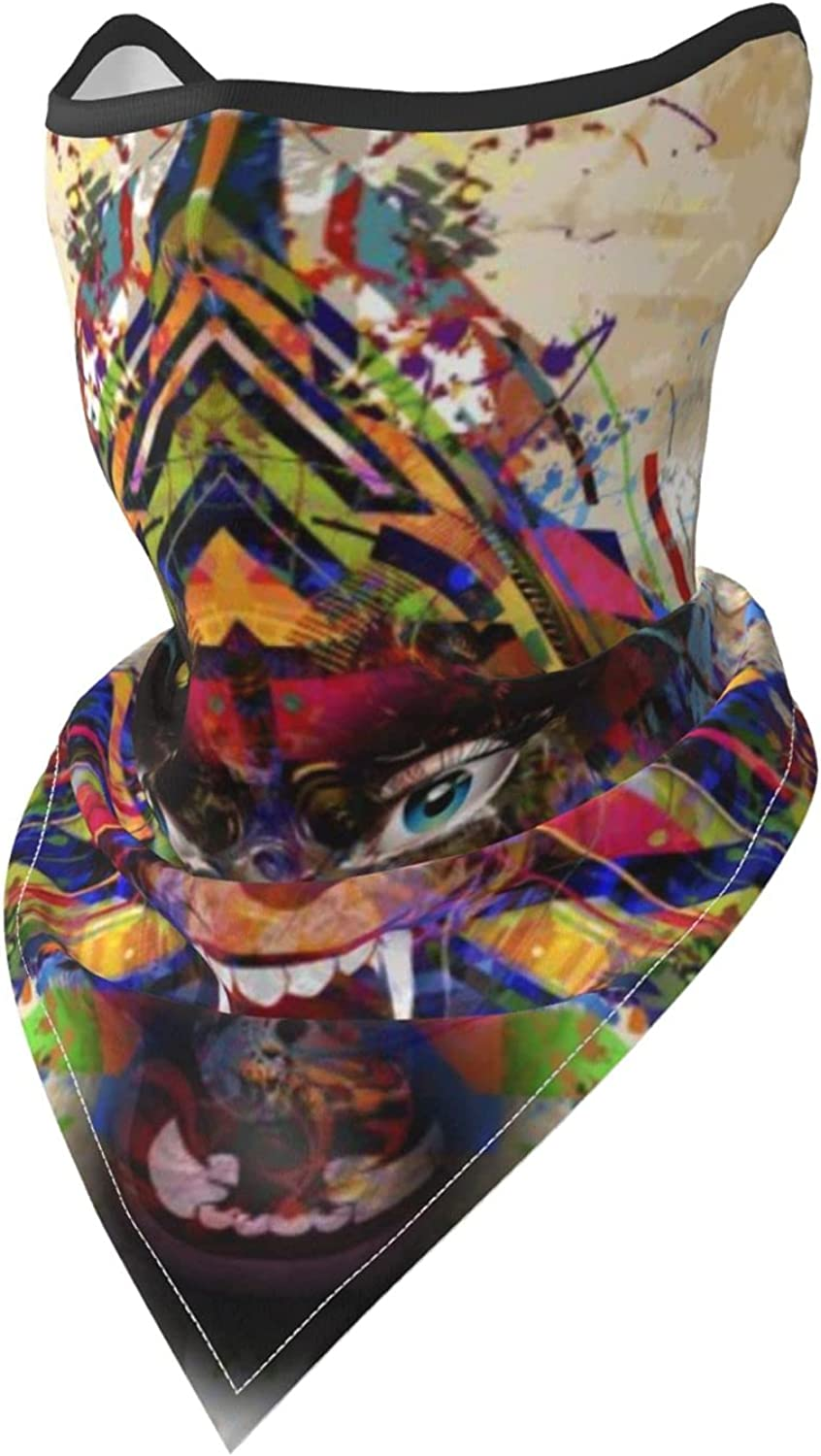 Wolf Howling Animal Face Colorful-3 Breathable Bandana Face Mask Neck Gaiter Windproof Sports Mask Scarf Headwear for Men Women Outdoor Hiking Cycling Running Motorcycling