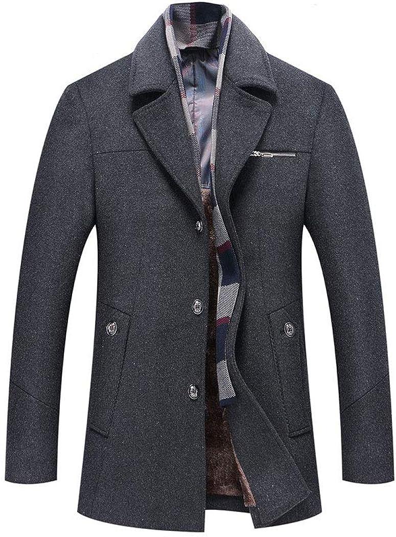 xzbailisha Men's Overcoat Woolen Coat Fleece Lined Thicken Business Down Jacket