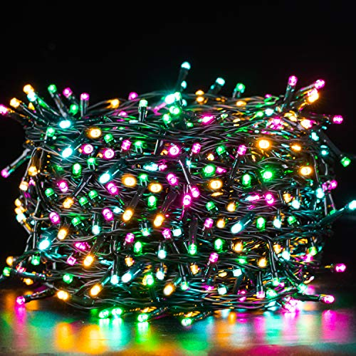 Quntis 500 LED 164FT Christmas Decorative Mini Lights, Valentines Day Decorations String Lights, Waterproof Fairy Lights Plug in, 8 Modes for Home Xmas Wedding Party Holiday Decoration, Multicolor