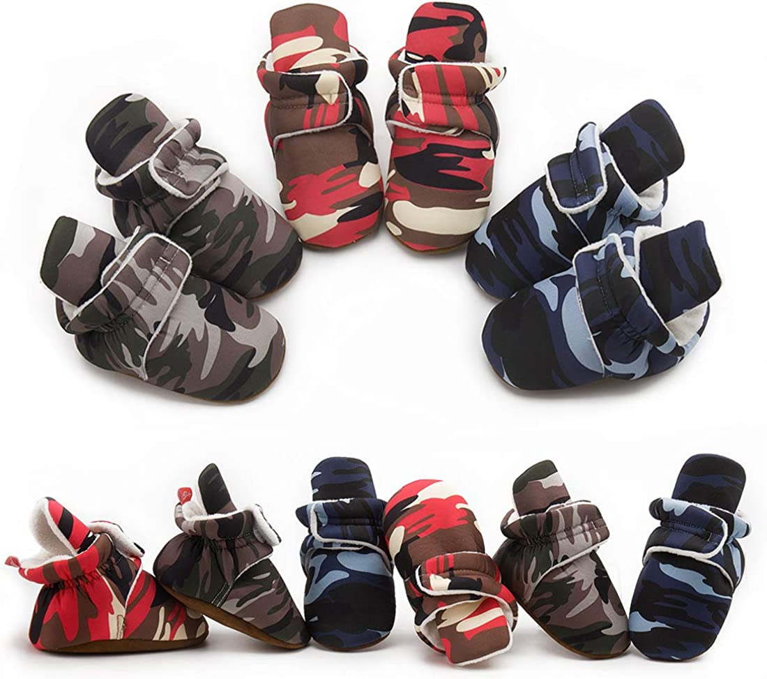 Morbido Newborn Infant Baby Boys Girls Cozy Fleece Booties Stay On Slipper Socks Winter Warm Ankle Boots Soft Shoes Non Skid Grippers First Walker Crib Shoes