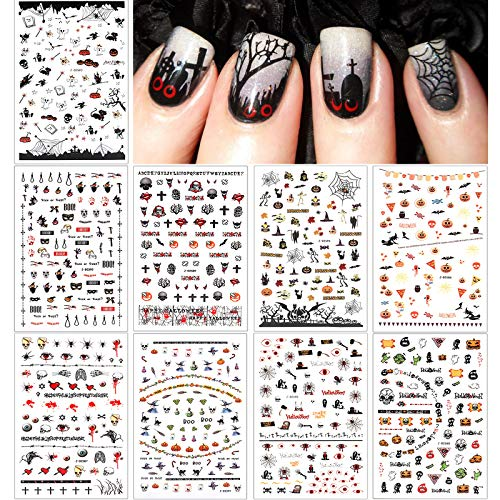 PHOGARY Halloween Nail Art Stickers, Self-Adhesive 3D Nail Decals, Bats, Spider, Web, Witch, Evils, Red Eye, Pumpkin, Skull Design Halloween Party Favors Decorations for Kids, Women