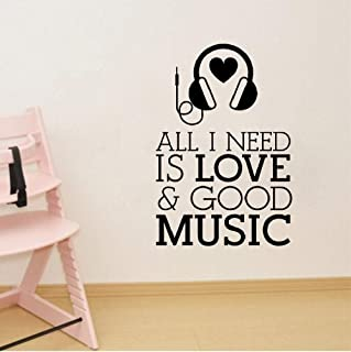 Teayz Wall Sticker Quote Wall Decal Funny Wallpaper Removable Vinyl All I Need is Love and Good Music Headphones Musical Room