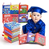 BeebeeRun 6 Pièces Livres d'éveil Livres de jouets,Bébé Livres en Tissu Jouet Educatif pour Bambin Bébé 0 à 18 Mois,Cadeau Anniversaire Fête Nouvel