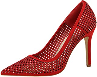 BalaMasa Womens APL12227 Light-Weight Pointed-Toe Low-Top Red Leather Heeled Sandals - 4.5 UK (Lable:38)