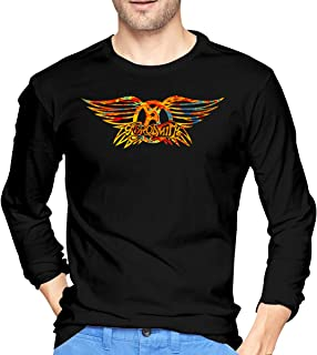 NeedLove Mens Classic Aerosmith Logo Long Sleeve T Shirt Black