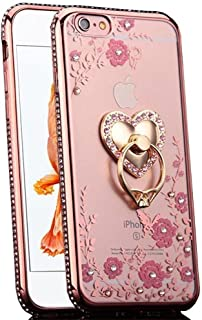 iPhone 6S Case, iPhone 6 Case, CaseUp Glitter Crystal Heart Floral Series - Slim Luxury Bling Rhinestone Clear TPU Case With Ring Stand For iPhone 6S/ iPhone 6 (4.7 Inch) Rose Gold