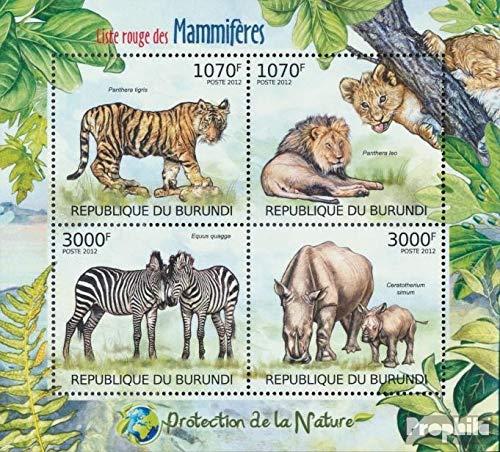 Prophila Collection Burundi 2625-2628 Minifoglio (Completa Edizione) 2012 Rare Mammiferi (Francobolli per i Collezionisti) mammiferi