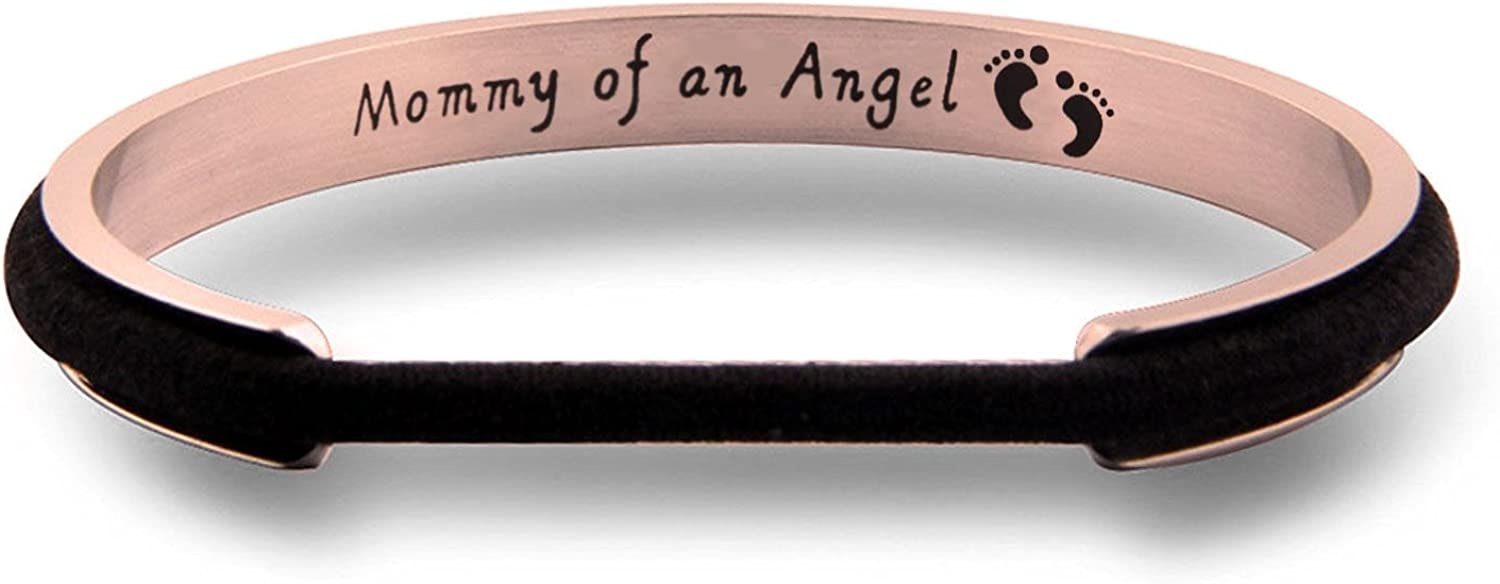 WUSUANED Mommy of an Angel Miscarriage Hair Tie Grooved Cuff Bangle Bracelet...