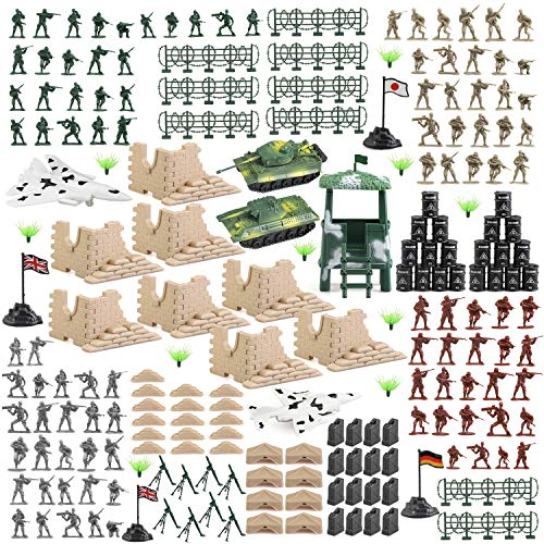 BeebeeRun 250 PCS Army Men Army Soldier Plastic Toys, Military Action Figures Playset with Tanks, Planes, Soldier Figures and Accessories
