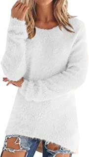 LemonGirl Women's Fashionable Long Sleeve Pullovers Loose Fluffy Fuzzy Jumper Sweater