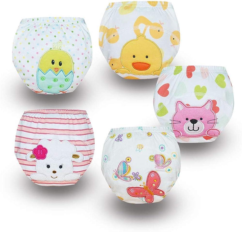 Baby Training Pants Girls' Washable 5 Pack Kids Potty Nappy Underwear