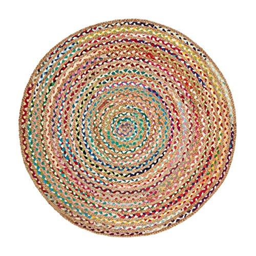 Green Decore Alfombra de yute tejida a mano, redonda, fibra natural, natural, 200 cm de diámetro, fusión multicolor