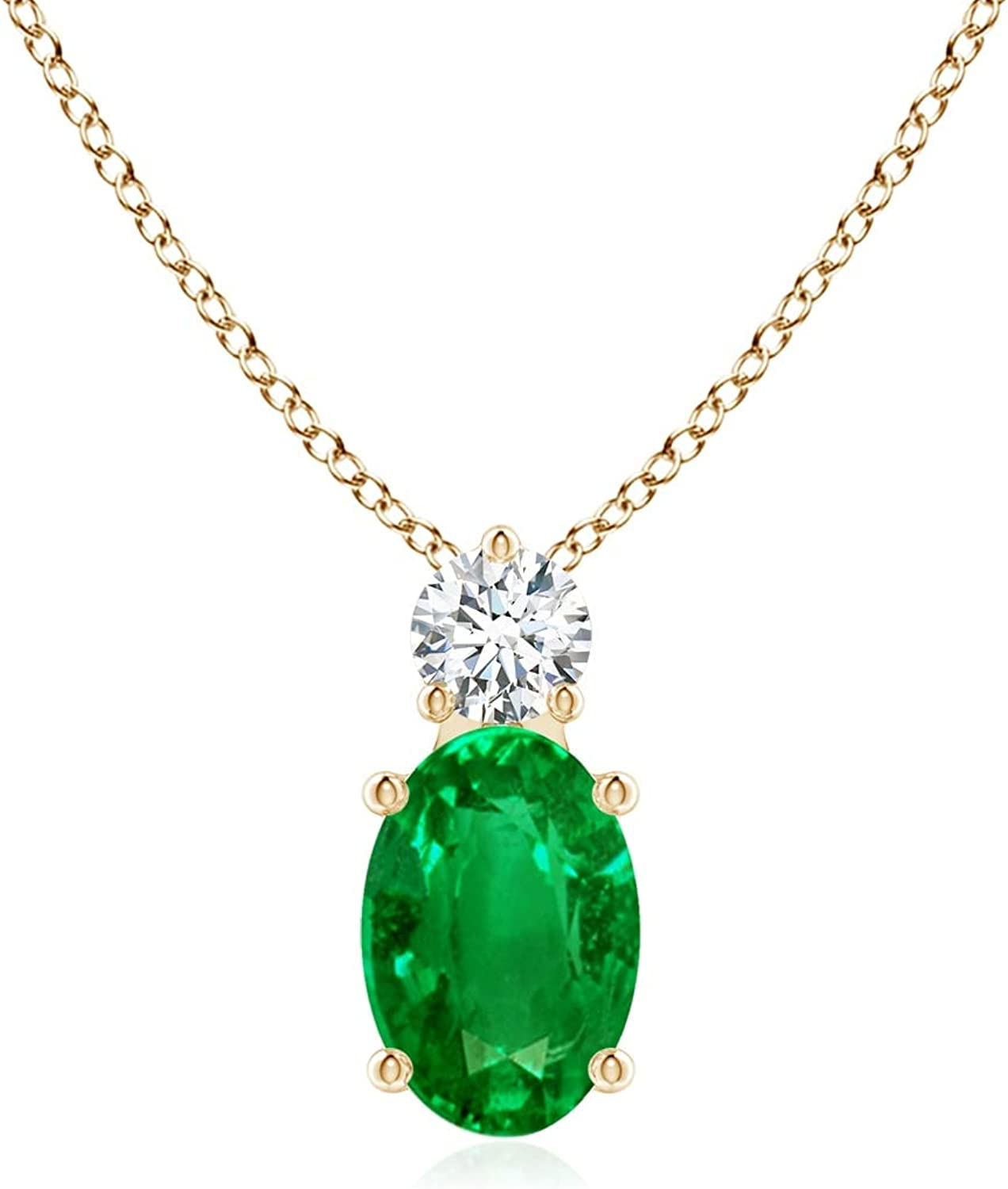 Super sale period limited Oval Emerald Solitaire Max 41% OFF Pendant with Diamond 14K Gold in Yellow
