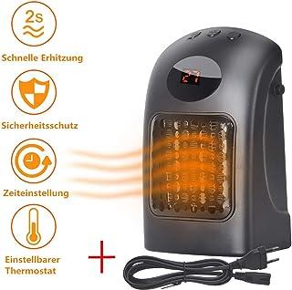 Tolyneil - Mini calefactor eléctrico portátil de bajo consumo con termostato y protección contra sobrecalentamiento, de bajo consumo, temporizador para oficina, hogar