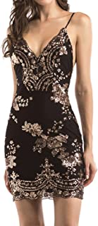 2a5b690aded7 Women s Sexy Backless Sparkling Dress Sequins Floral Deep V Neck Clubwear Party  Bodycon Mini Short Dress