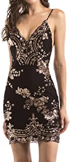 Women's Sexy Backless Sparkling Dress Sequins Floral Deep V Neck Clubwear Party Bodycon Mini Short Dress