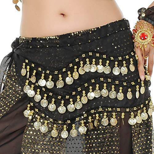 WAYDA Hip Scarf for Belly Dancing, Women's Sweet Belly Dance Hip Scarf with 128 Gold Coins Skirts for Bellydance, Zumba or Yoga Class, Excellent for Bellydance Practice