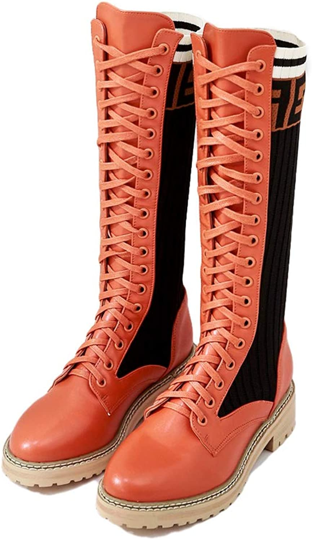 York Zhu Women's Fashion Boot,Lace Up Round Toe Long Boots Martin Boots