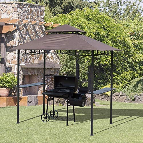 Ldoons 8 ft New Double-Tier BBQ Gazebo Grill Canopy Barbecue Tent Shelter Patio Deck Cover, Grill Roof, Rain Sun Protection Roof - Coffee