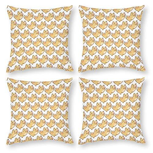 Juego de 4 fundas de almohada de algodón de 45 x 45 cm, diseño de cerdo divertido para sofá, terraza, silla, playa, asiento, Diwan, decorativo, club, bar, pub, cafetería, tienda.