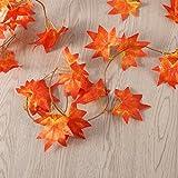WINOMO 2 Stücke Herbstgirlande mit Ahorn Blättern Tischdeko künstlich Fensterdeko 2.4M - 8