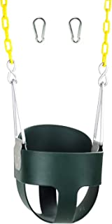 High Back Full Bucket Toddler Swing Seat with Plastic Coated Chains and Carabiners for..
