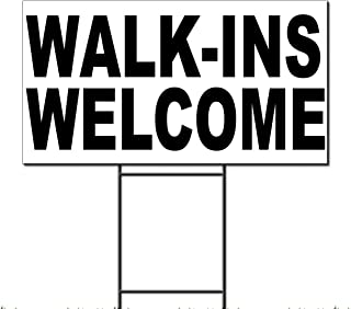 Fastasticdeals Walk-Ins Welcome Black Corrugated Plastic Yard Sign/Free Stakes 18 x 24 inches Two Sides Color