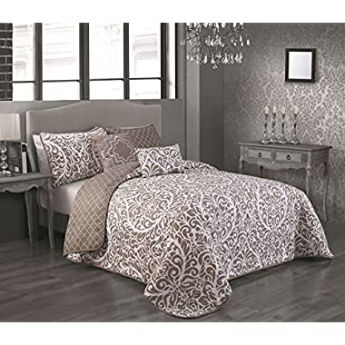 Avondale Manor 5-Piece Katerin Quilt Set, King, Blue