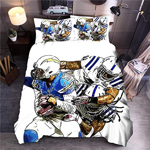 Rmooaceo 3D Bedding Set - Creative Sports Rugby - (Double: 200 X 200 Cm) Photos Bed Sheets Queen Twin Full Duvet Cover Bed Sheet Pillowcase 3Pcs/Set Fitted Sheet Home Textiles + 2 Pillowcase 50 X 75