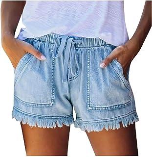 SPE969 Denim Shorts Women's Loose Fringe Bandage Short Jeans Tassel Elastic Waist Bottom Pants