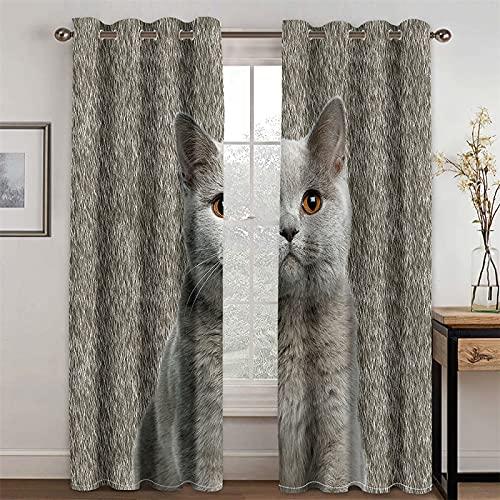 YUNSW Cortinas 3D Bunny and Kitten, Cortinas De Sombreado Y Reducción De Ruido para Sala De Estar Y Dormitorio, Juego De 2 (Total Width) 280x(Height) 200cm