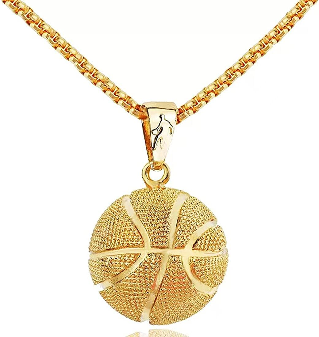 Ouvia Iced Out Basketball Pendant Necklace Hip Hop Iced Out Chain Sports Pendant Rap Punk Rock Clubs Disco Diamond Bling boys jewelry Cuban Link chain for men sports gifts for boys things for teens girls