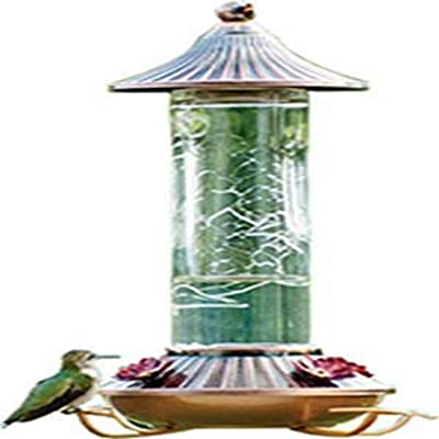 Audubon NA35240 Etched Glass Hummingbird Feeder, 14-Ounce Feeder-14 oz, Inch, White