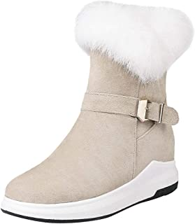 Snow Boots for Womens Faux Fur Lined Snow Boots Flock Winter Suede Cotton Shoes Ankle Booties Shoes