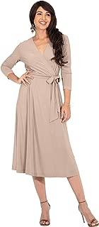 KOH KOH Womens V-Neck 3/4 Sleeve Semi Formal Wrap Flowy Knee Length Midi Dress