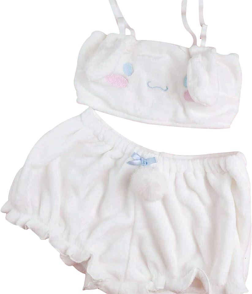 2 Pcs Kawaii Anime Cute Pajamas Set for Women Sweet Lovely Spaghetti Strap Fluffy Velvet Tube Bunny Rabbit Pjs Crop Top+Shorts Sleepwear Suits