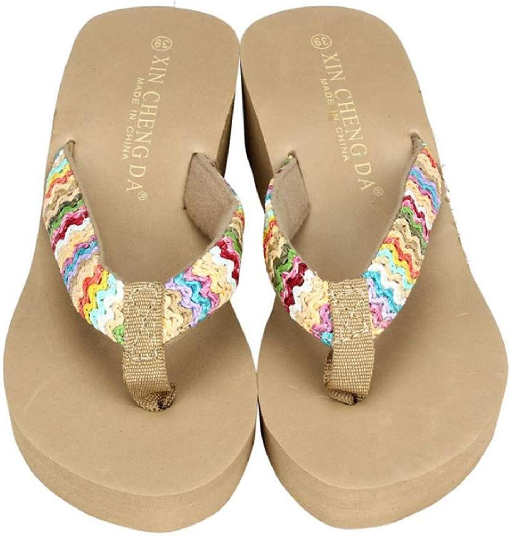 T-JULY Women Sandals Slipper Solid Wedges Flip Flops Peep Toe Platform Summer Thong shoes