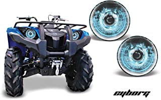 AMR Racing ATV Headlight Eye Graphic Decal Cover for Yamaha Grizzly 660/450/400/350/125 - Cyborg Blue
