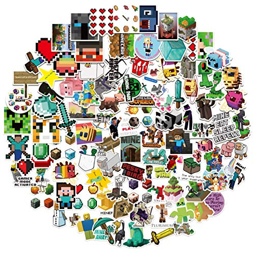 Minecraf-t Vinyl Stickers [100Pack], Minecraf-t Stickers Decals for Laptop, Book, Water Bottle, Bumper, Luggage, Computer, Skateboard, Snowboard. Gift for Kids Girls Teens Toy Phone Snowboard