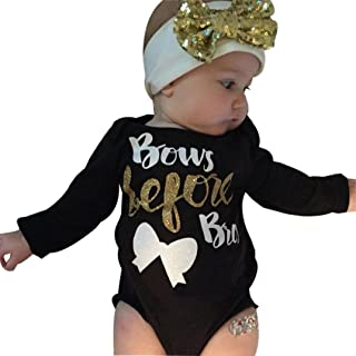 Baby Clothes, Egmy Cute 2Pcs Newborn Baby Girl Letter Long Sleeve Romper+Headband Outfits Clothes (Size:6M)