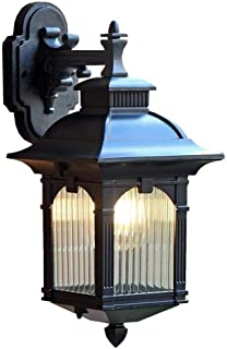 CMmin Rustic Outdoor Wall Light Lantern Aluminium Glass Porch Massive Down Wall Lantern Black Searchlight Ideal for Gardens - Driveways - Fencing - Patio Lighting