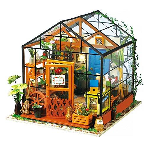 Robotime Dollhouse Kit Rénovation de meubles Woodcraft Kit de Construction Mini Maison de Bricolage à la Main Avec Lumières et Accessoires Miniature Home Decor Décor de Noël (Green House)