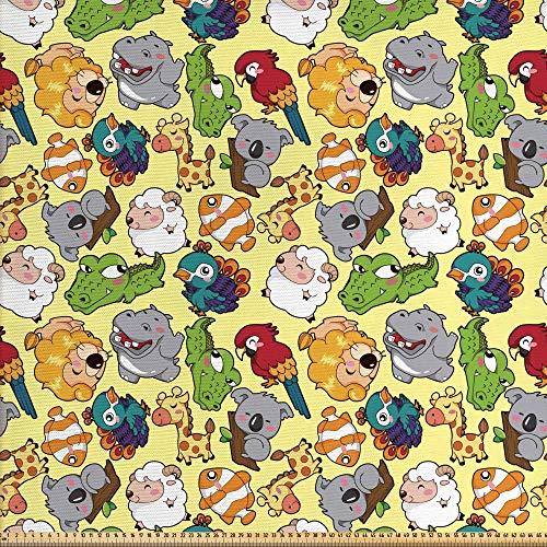 ABAKUHAUS Niños Tela por Metro, Animales Divertidos Hipopótamo Jirafa Koala Loro Cocodrilo Zoo Selva Gráfico Infantil, Decorativa para Tapicería y Textiles del Hogar, 1M (148x100cm), Multicolor