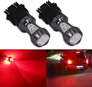 HSUN 3157 P27/7W T25 3457 4157 LED Bulbs 12V-24V 16LED SMD3030 Chip Extremely Bright with Projector Canbus Error Free for Brake Tail Light,2 Pack,Red
