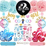 Fun Spree Baby Gender Reveal Party Supplies Decorations- 106 PCS Premium Blue/Pink Baby Shower Décor Surprise Kit- Boy or Girl Banner, Reveal Balloon w/Confetti (no Smoke), Photo Props, Stickers,Sash