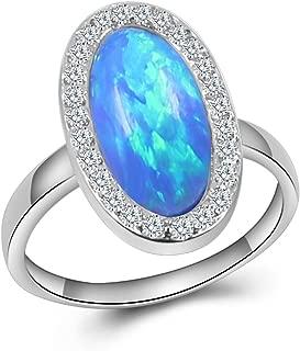 Sinlifu Eternity Ring Australia Fire Opal Silver Plated 3.5mm Wedding Band Jewelry for Women